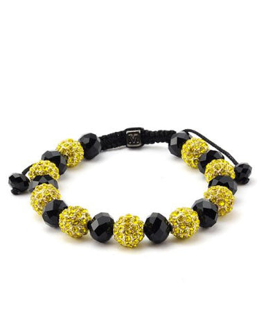 Yellow Encrusted Ball & Faux Crystal Beads Bracelet