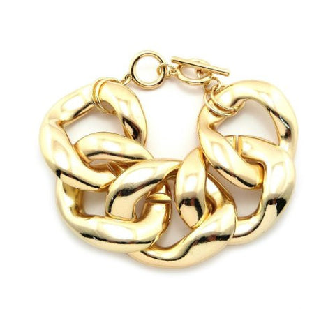 Extra Thick Celebrity Look Toggle Clasp Chain Bracelet in Gold-Tone