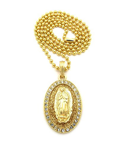 "Sparkle Pave Oval Jesus Pendant 3mm 27"" Ball Chain Necklace in Gold/Gold-Tone"