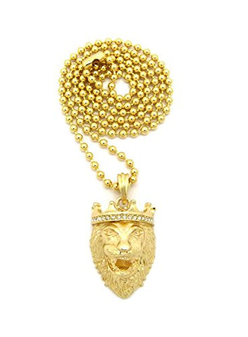 "Stone Stud Crown King Lion Head Pendant w/ 3mm 27"" Ball Chain Necklace in Gold-Tone"