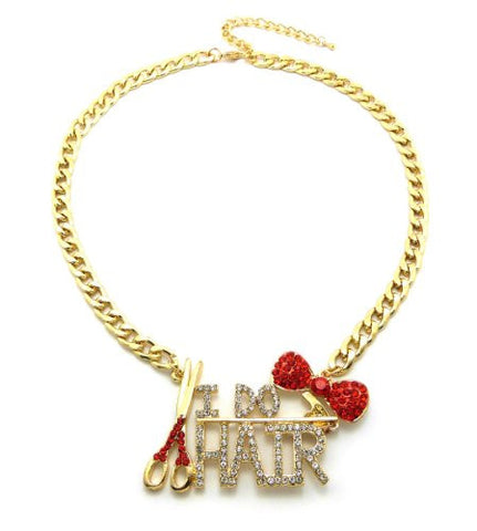 "Gold/Red Tone I DO HAIR Rhinestone Fashion Charm 7mm 18"" Link Chain Necklace"