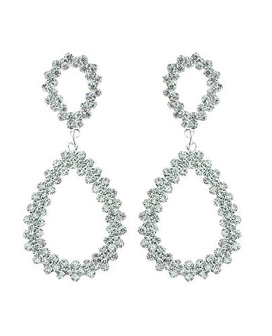 Jagged Teardrop Design Pave Drop Earrings in Silver-Tone