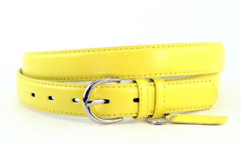 Nyfashion101 Women's Basic Leather Dressy Belt w/ Round Buckle H001-Light Yellow-XXL