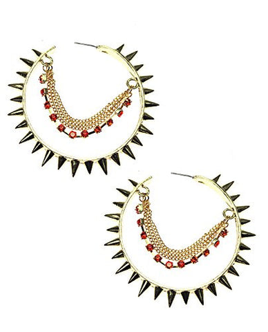 Rhinestone Strand Spike Hoop Earrings