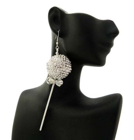 Lollipop Drop Earrings in Clear/Silver-Tone