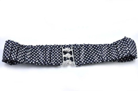 Women Dotted Style Stretch Belt With Metal Buckle