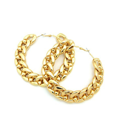 Thick Link Chain Hoop Earrings in Polished Gold Tone JE3012GD