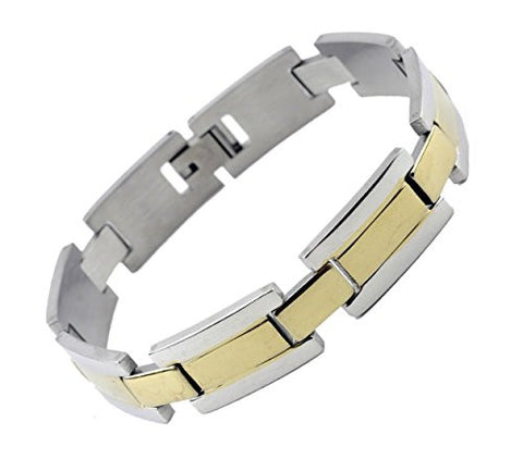 NYfashion101 Men's Fashionable Two-Tone Stainless Steel Bracelet 4027