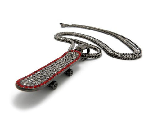 "Iced Out Skateboard Pendant 4mm 36"" Franco Chain Necklace in Red/Hematite-Tone"