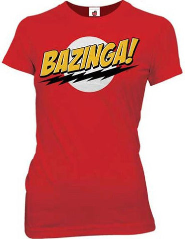 Official Big Bang Theory Bazinga No Face Junior T-shirt Red