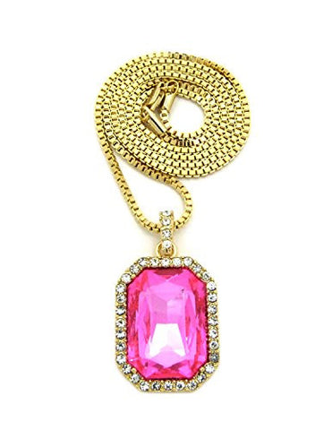 "Hip Hop Rapperz Micro Pink Stone Pendant 2mm 24"" Box Chain Necklace in Gold-Tone"