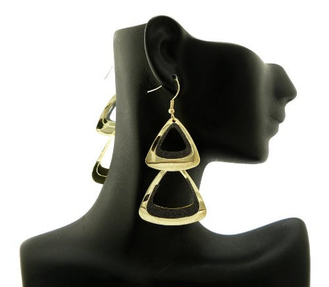 Shimmer Triangle Drop Earrings in Black/Gold-Tone