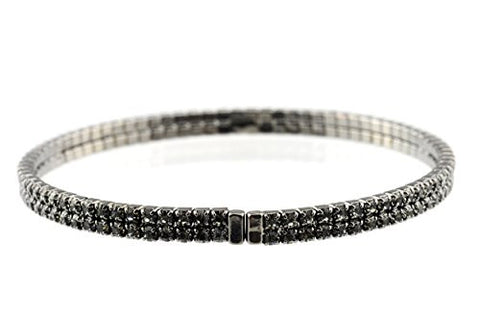 Elegant 2 Row Grey Swarovski Elements Flex Bracelet in Hematite-Tone MADE IN KOREA IKB1001HB