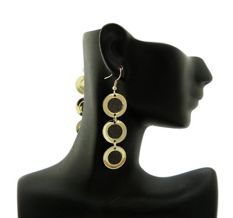 Shimmer Circle Drop Earrings in Black/Gold-Tone