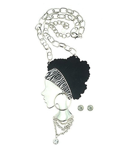 Silver-Tone Stylish Afro Woman Pendant Necklace with Stud Earrings Set