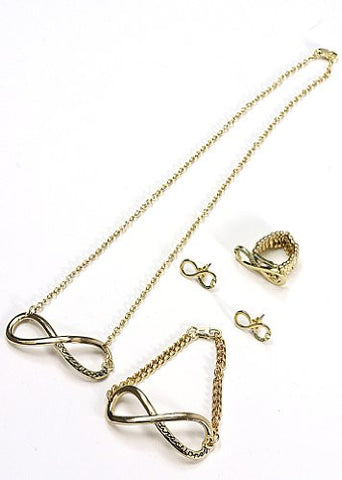 Directioner® Infinity Necklace, Earrings, Ring, and Bracelet Jewelry Set in Gold-Tone
