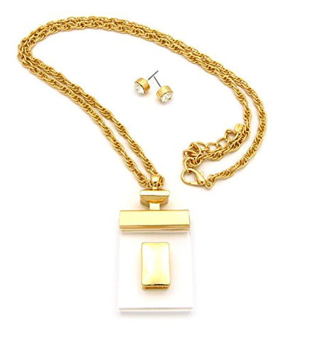 "Clear Perfume Bottle Design Pendant 30"" Chain Necklace with Stud Earrings in Gold-Tone JS1048GD"
