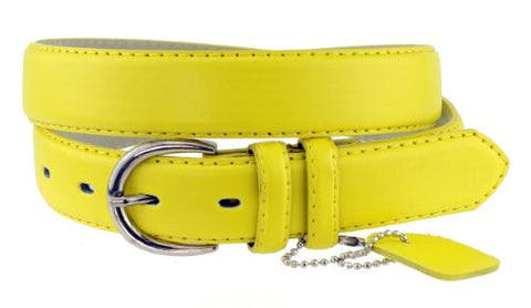Nyfashion101 Women's Basic Leather Dressy Belt w/ Round Buckle H001-Yellow-L