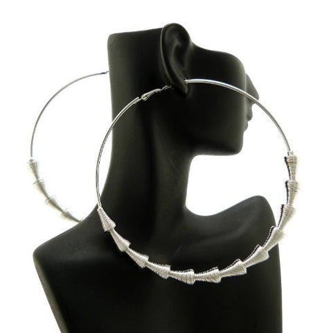 "Cone Shape Chain Wrap 3.85"" Big Hoop Earrings in Silver-Tone"