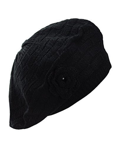 NYfashion101 Warm Knit Black Beret w/ Knitted Flower Accent