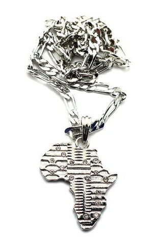 African Tribal Imprint Africa Pendant Figaro Chain Necklace