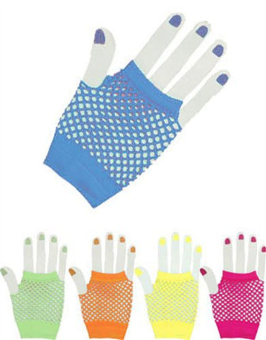 Turquoise Glam Rock Fishnet Fingerless Costume Half Gloves