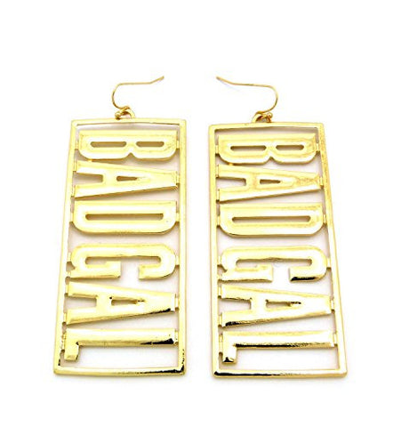 BAD GAL Girls' Hip Hop Fashion Drop Earrings in Gold-Tone JE1189GD