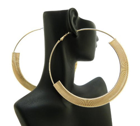 "Flat Omega Chain Wrap 4.75"" Extra Big Hoop Earrings in Gold-Tone"