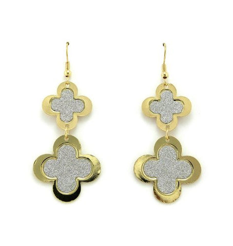 Shimmer Good Luck 4 Leaf Clover Design Drop Earrings in Silver/Gold-Tone