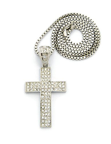 "Curved 3 Row Paved Cross Pendant 30"" Box Chain Necklace - Silver Tone CP141R"
