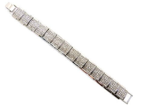 Square Rhinestone Block Chain Bracelet with Metal Clasp