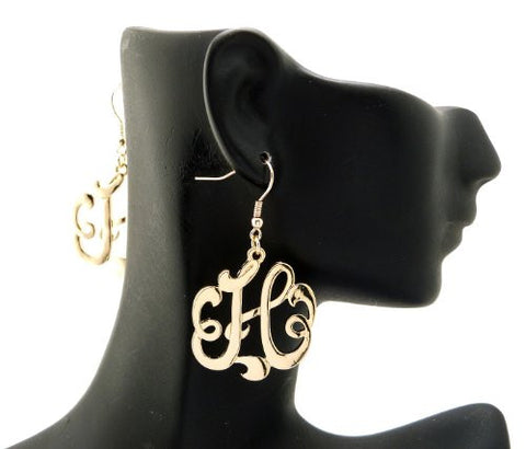 Initial Letter H Celebrity Style Monogram Earrings in Gold-Tone