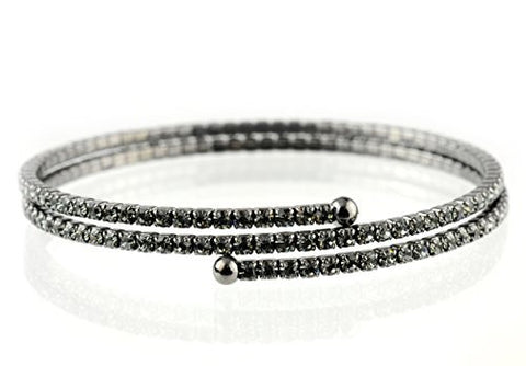 2 Row Grey Swarovski Elements Flex Wrap Bracelet