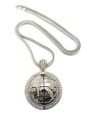 Iced out silver tone globe pendant necklace w 4mm 36 franco chain iced out silver tone globe pendant necklace w 4mm 36 franco chain rc83r aloadofball Choice Image