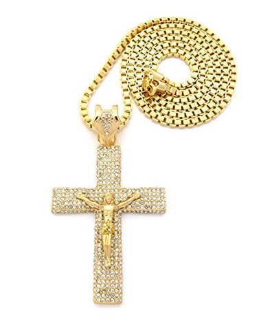 "Paved Crucifix Jesus Cross Pendant w/ 36"" Box Chain - Gold Tone XP495GBX"