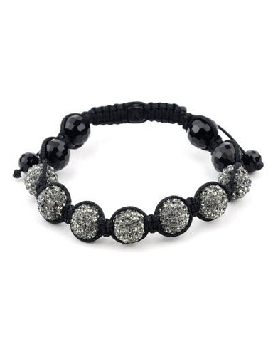 Hematite Encrusted Ball and Faux Glass Beads Shamballa Bracelet MHB106BKHE