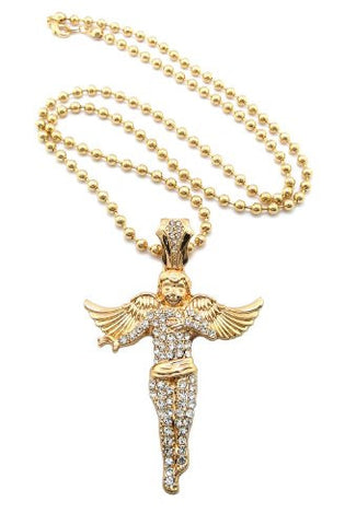 "Iced Out Gold Tone Floating Angel Pendant Necklace w/ 5mm 30"" Ball Chain XP915GBC"