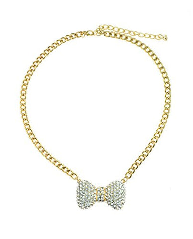 "Rhinestone Studded Petite Bow Pendant 5mm 14"" Link Chain Necklace in Gold-Tone"