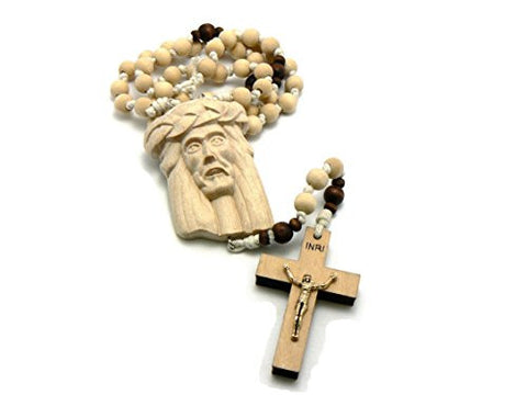 Jesus Face & Crucifix Cross Pendant Wood Rosary Necklace
