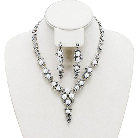 Floral Vine Design Rhinestone Pearl Evening Necklace and Earrings Jewelry Set in Silver-Tone