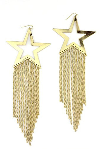 Star Plate Dropping Chain Dangle Earrings in Gold-Tone E4047G