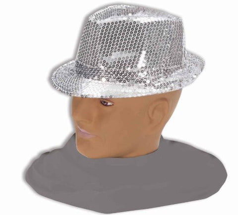 Adult Sequin Fedora Costume Hat - Silver
