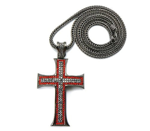 "Hematite/Red Tone Cross Pendant w/ 4mm 36"" Franco Chain Necklace"