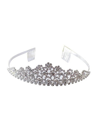 NYfashion101 Rhinestone Studded Floral Layered Mid Sized Crown Tiara NHTN616SCLY