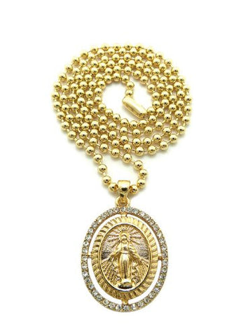 "Saint Mary Halo Paved Oval Micro Pendant 27"" Ball Chain Necklace in Gold-Tone MMP21G"