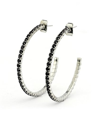 Red Swarovski Elements 35mm Flex Hoop Earrings in Silver-Tone MADE IN KOREA IKE1000RD