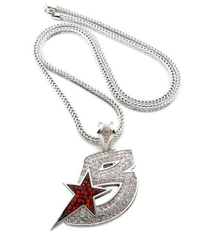 "Iced Out Black Wall Street Pendant 36"" Franco Chain Hip Hop Necklace in Silver-Tone XP905R"