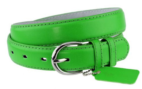 Nyfashion101 Women's Basic Leather Dressy Belt w/ Round Buckle H001-Kelly Green-S