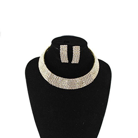 Clear 5 Row Elastic Flexing Rhinestone Choker Necklace and Earrings Jewelry Set