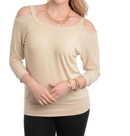 NYfashion101 (TM) Women's Cute Knitted Beige Top CN150875